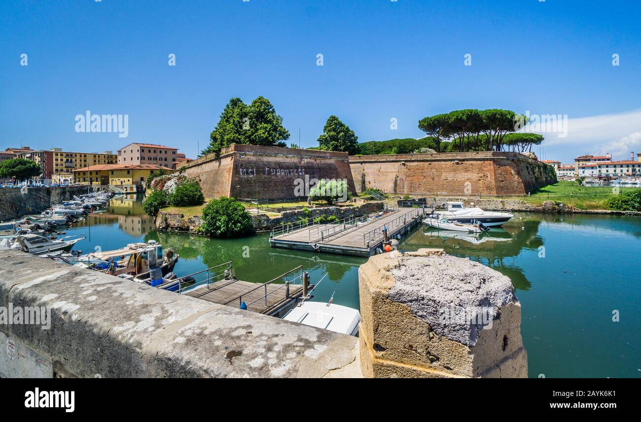 Fortezza Nuova, the New Fortress, a 16th century defensive system in the Livorno district of Nuova Venezia, Tuscany, Italy Stock Photo