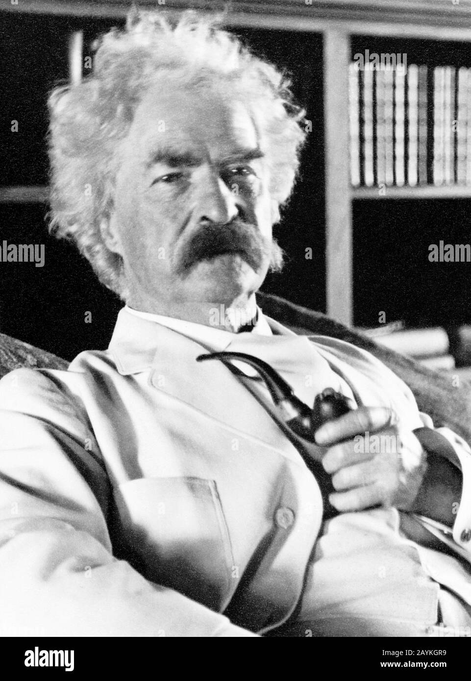 Vintage portrait photo of American writer and humourist Samuel Langhorne Clemens (1835 – 1910), better known by his pen name of Mark Twain. Photo circa 1905. Stock Photo