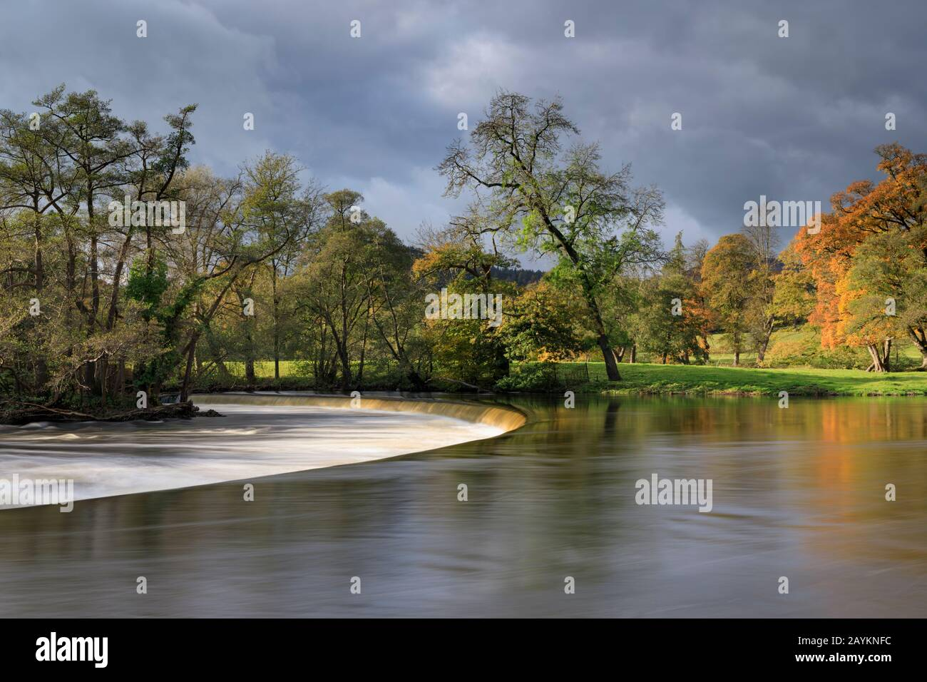 Horseshoe Falls, on the River Dee near Llangollen in North Wales Stock Photo