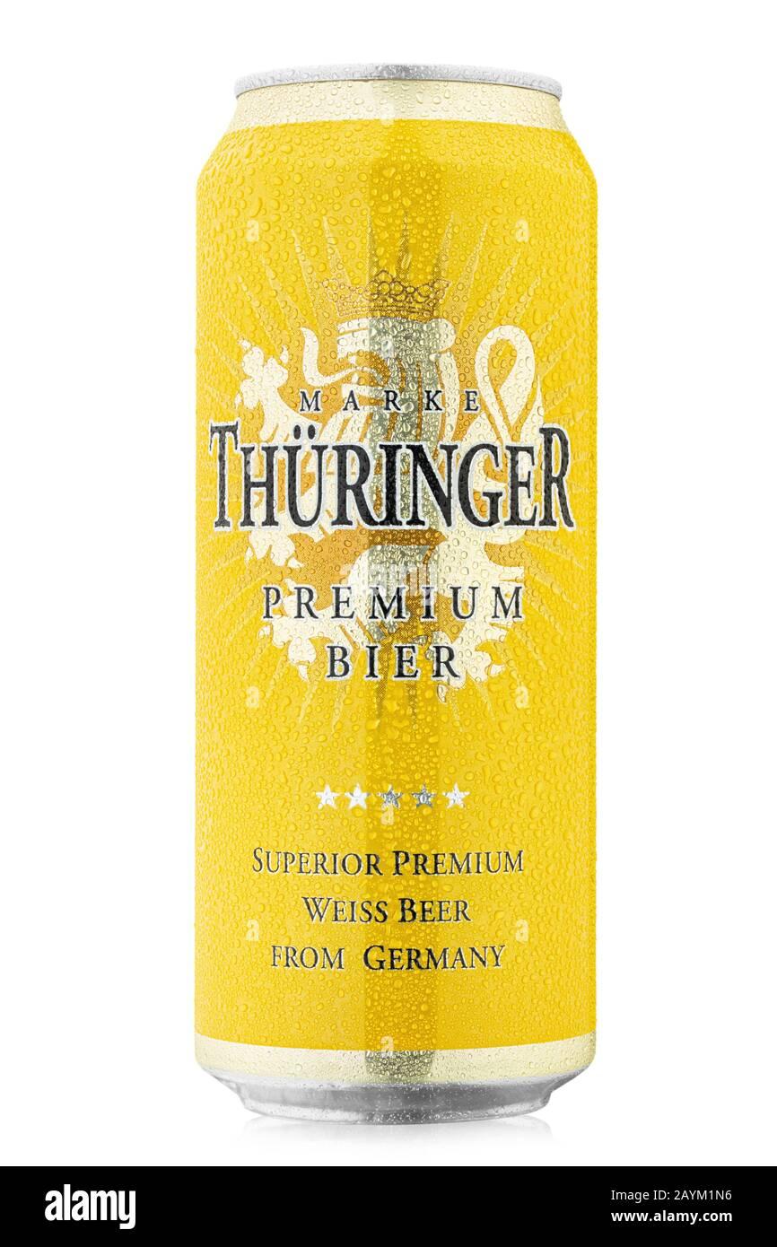 Ukraine, Kiev - February 05. 2020:  Aluminium can of  Thuringer Premium Weissbier beer on white background. Producer: Brauerei Gotha Brewery, Germany. Stock Photo