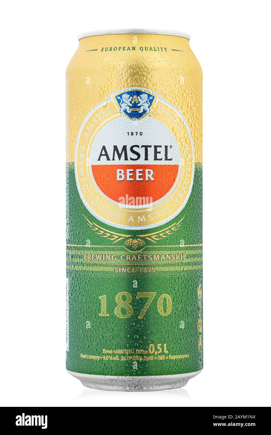 Ukraine, Kiev - February 05. 2020:  Aluminium can of  Amstel beer on white background. Is an internationally known brand of beer produced by Heineken Stock Photo