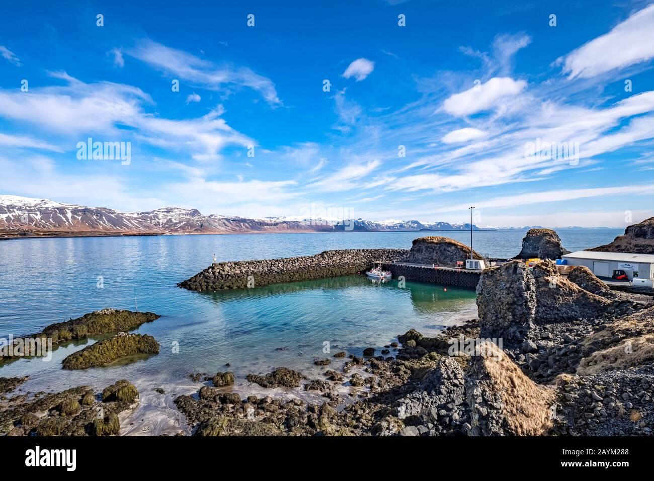Harbour at Arnarstapi, on the Snaefellsnes Peninsula, West Iceland. Stock Photo