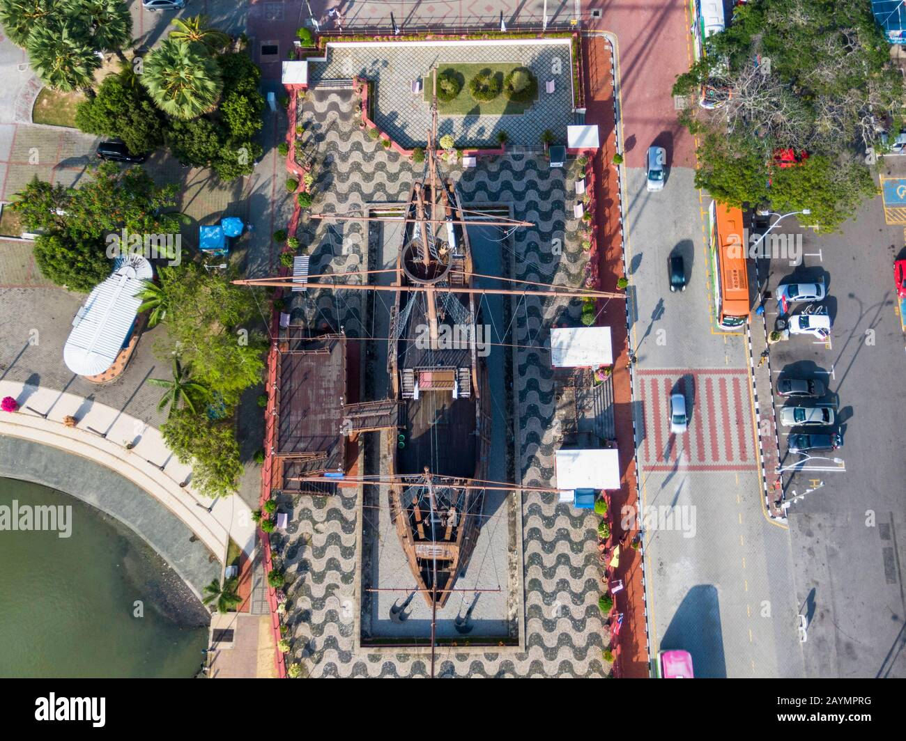 Aerial view of  Flor de la Mar a replica of a Portuguese ship at the Maritime Museum in Malacca (Melaka), Malaysia. Stock Photo