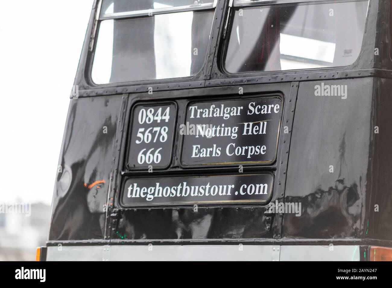 Ghostbustour old London Routemaster bus painted black. Ghost Bus Tours retired London bus used for spooky transport around city. Twisted destinations Stock Photo