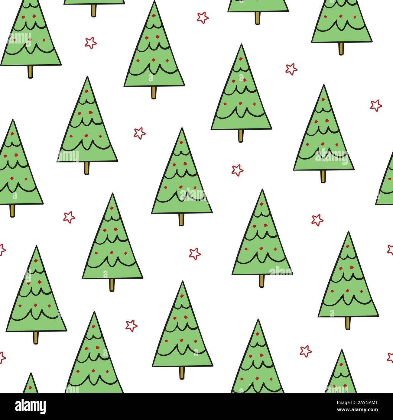 Simple Green Christmas Trees With Red Stars On White Background Seamless Repeat Christmas Holiday Pattern For Wrapping And Wallpaper Stock Vector Image Art Alamy