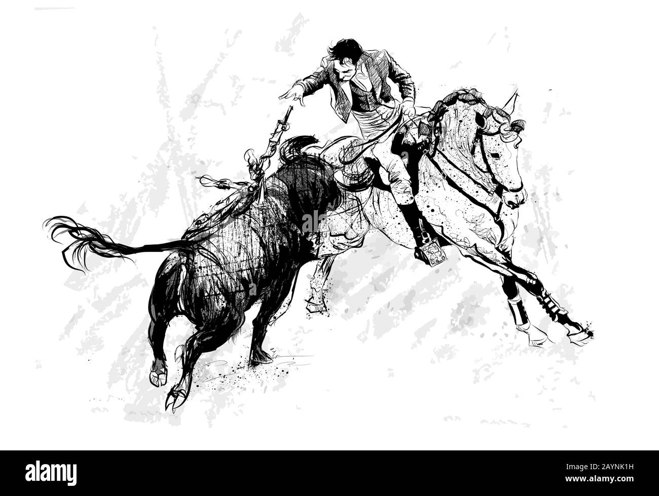 Bullfighter On Horse With Bull During Corrida In Portugal Vector Illustration Ideal For Printing On Fabric Or Paper Poster Or Wallpaper House Dec Stock Vector Image Art Alamy