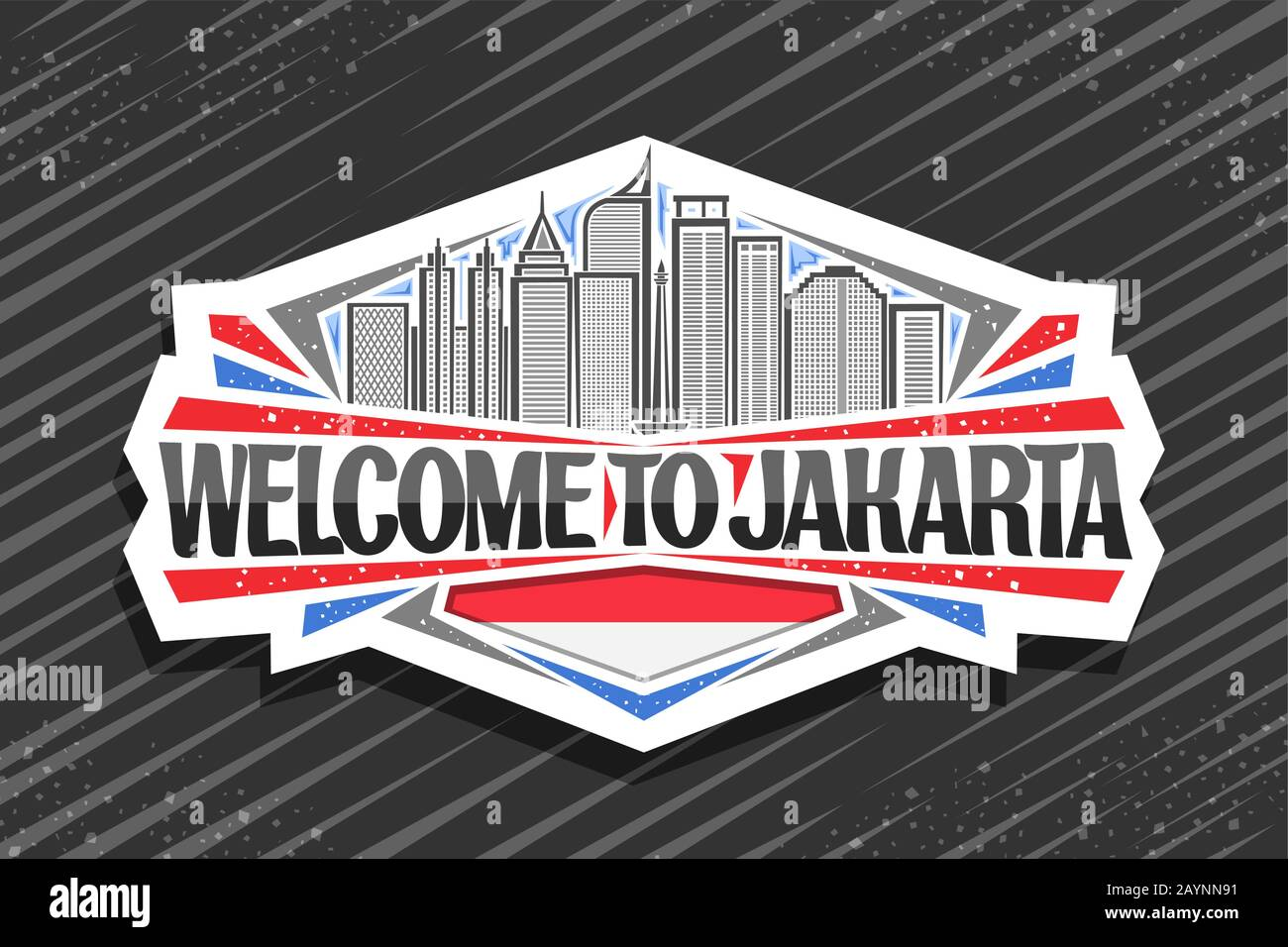 Vector Logo For Jakarta White Decorative Sticker With Line Illustration Of Famous Jakarta City Scape On Sky Background Design Fridge Magnet With Cre Stock Vector Image Art Alamy