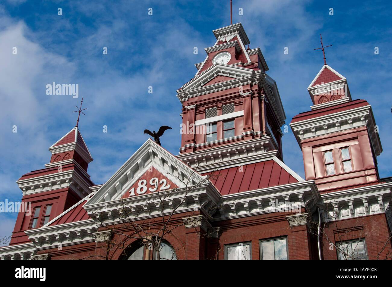 Detail of the architecture of old City Hall, now the Whatcom Museum of History and Art in Bellingham in Whatcam County, Washington State, USA. Stock Photo