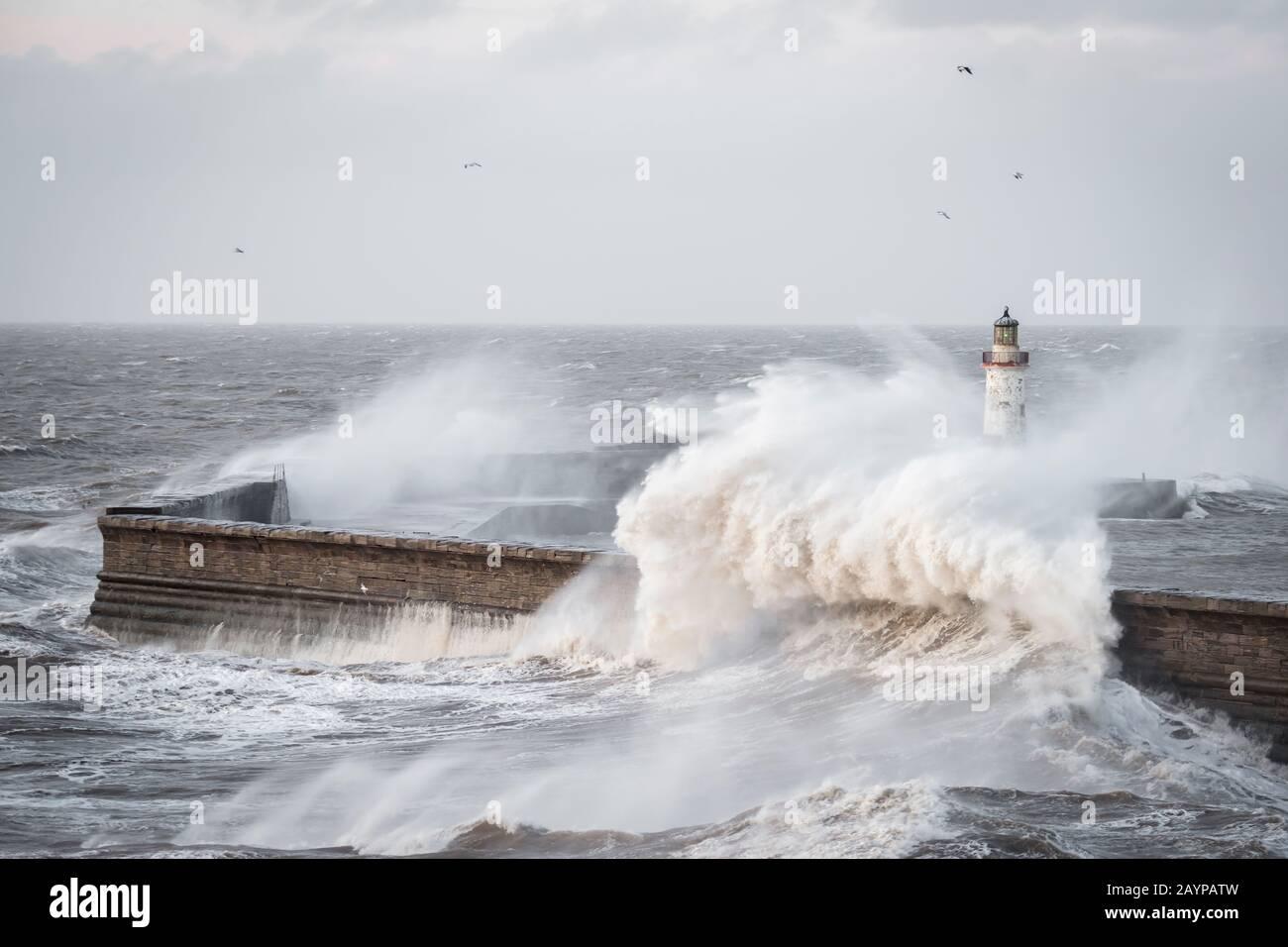 Storm Dennis battering the Cumbrian coast Stock Photo
