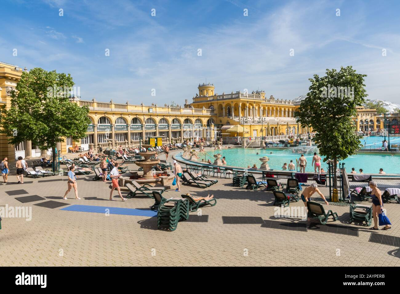 Budapest, Hungary - 25 April 2019: The oldest Szechenyi medicinal bath is the largest medicinal bath in Europe. Stock Photo