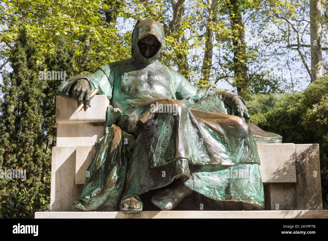 Statue of Anonymous in Budapest - Hungary Stock Photo