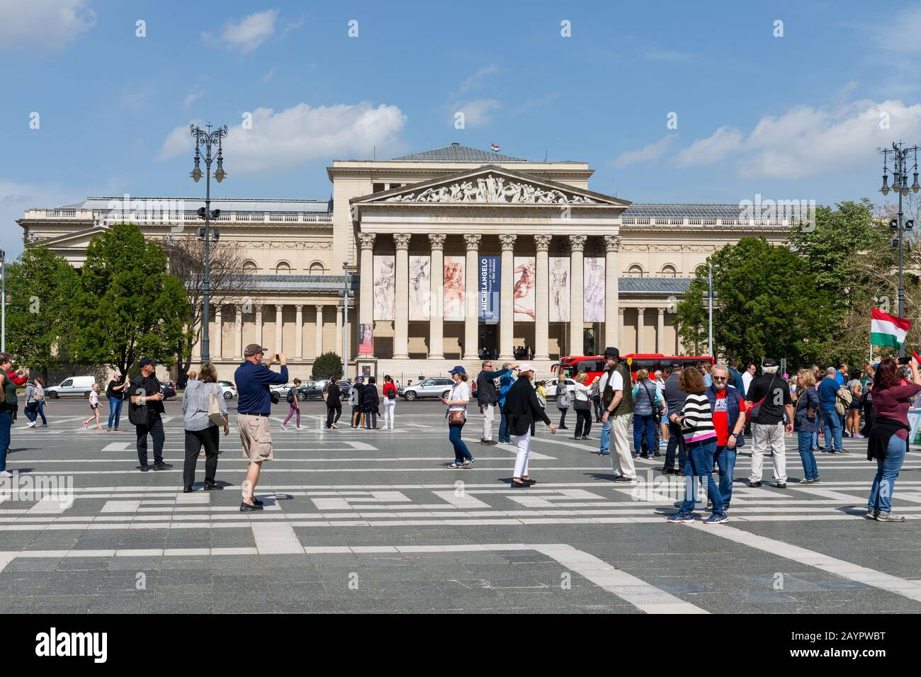 Budapest, Hungary - 25 April 2019: Heroes Square monument and tourist in Budapest city. The square one of the most-visited attractions in Budapest squ Stock Photo