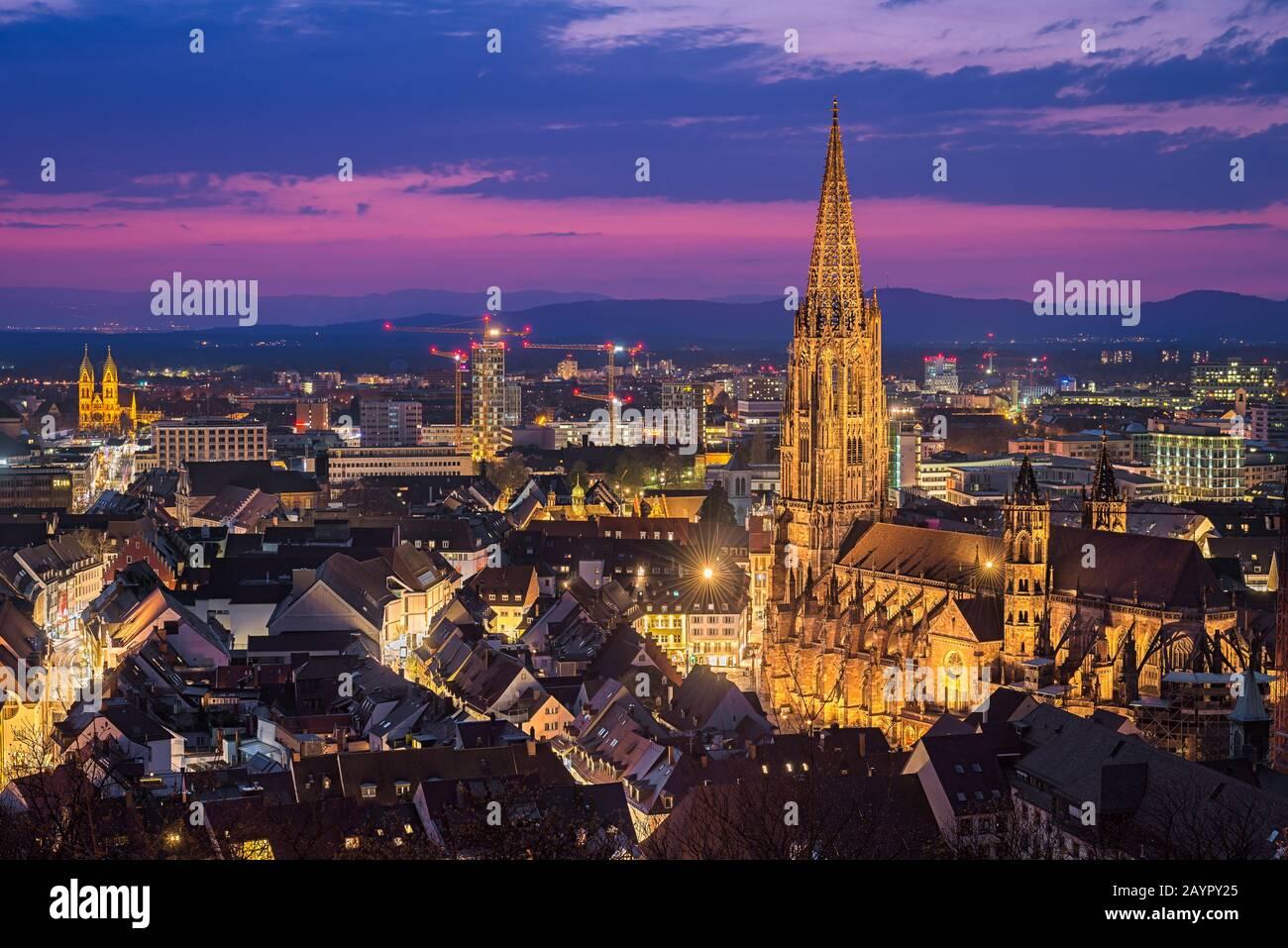 Night skyline of Freiburg im Breisgau, Germany Stock Photo
