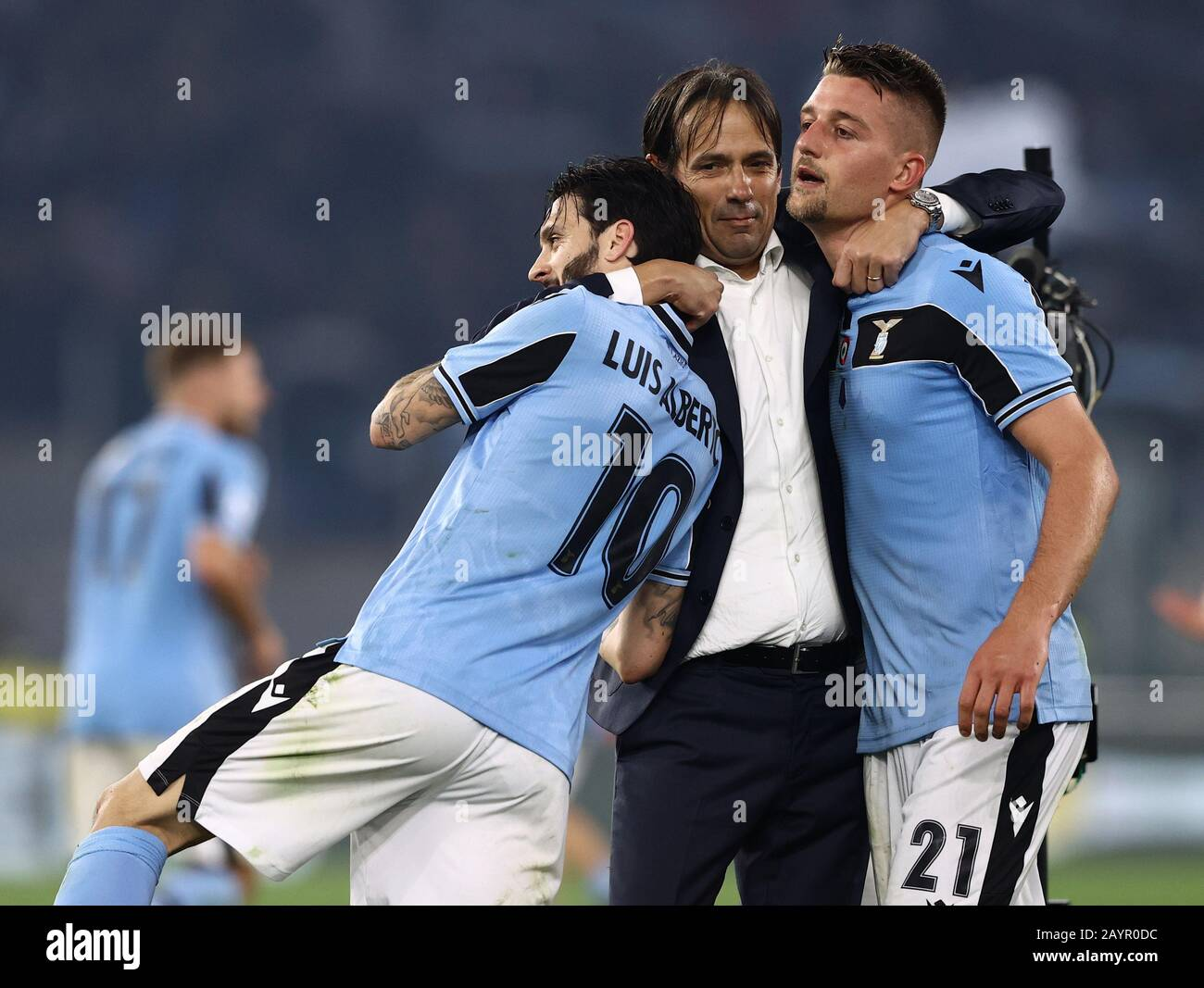 Stadio Olympico, Rome, Italy. 16th Feb, 2020. Serie A Football, Lazio  versus Inter Milan; Simone Inzaghi coach of Lazio hugs Luis Alberto and  Sergej Milinkovic Savic of Lazio after scoring Credit: Action