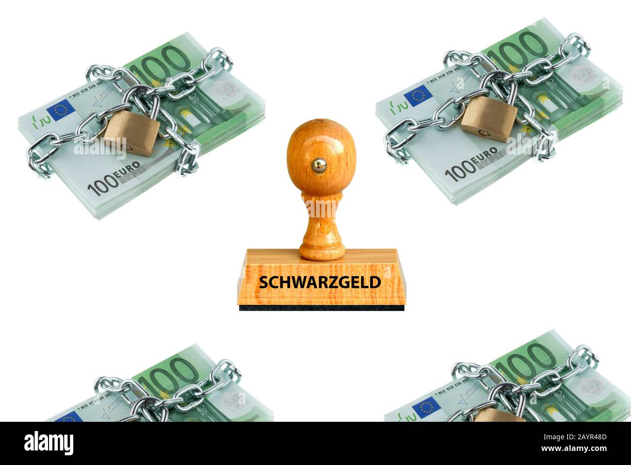 stamp lettering Schwarzgeld, black money, 100 Euro bills with chain locks in the background, Germany Stock Photo