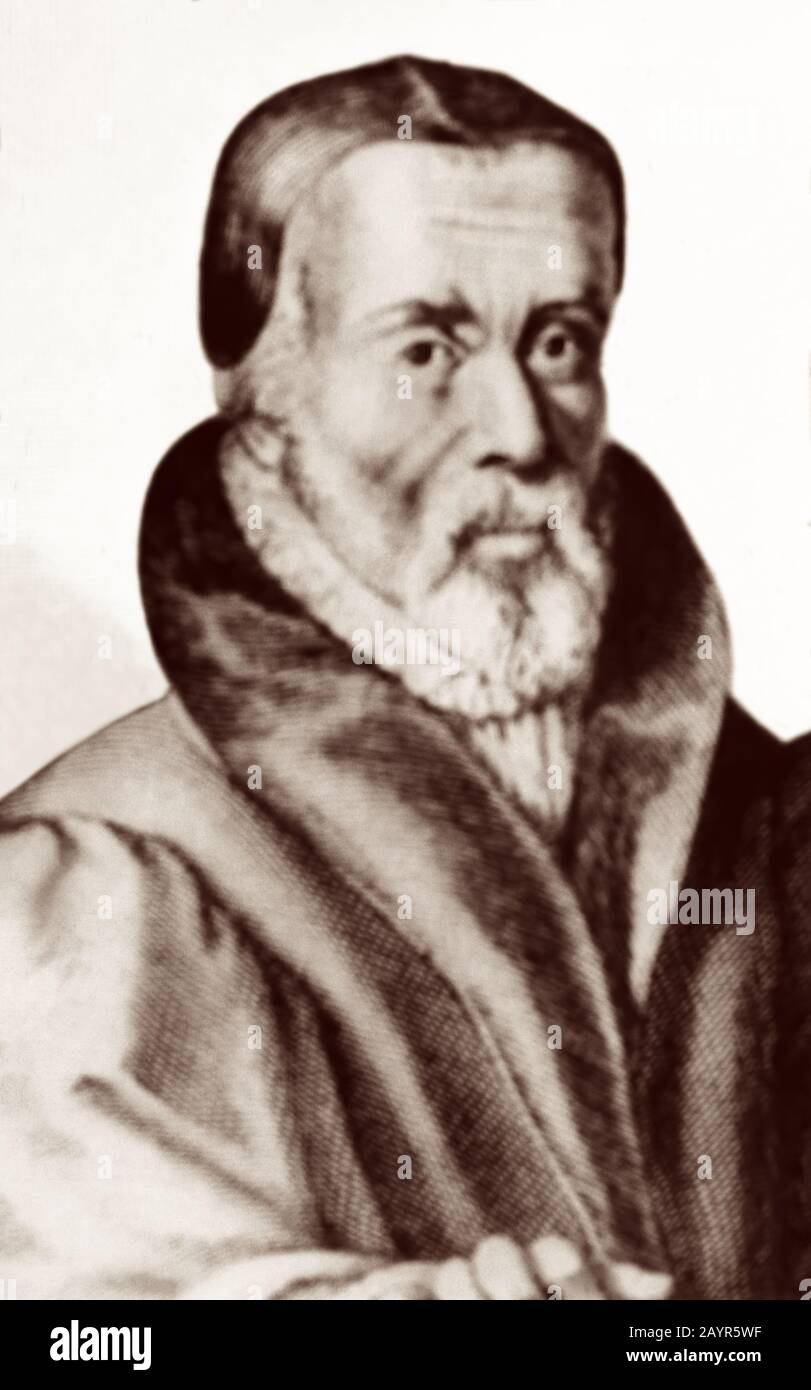 William Tyndale (1494 - 1536) was an English scholar and leading figure in the Protestant Reformation who, defying the Catholic Church and English government, translated the Bible into English, for which he was strangled and burnt at the stake in 1536. Stock Photo