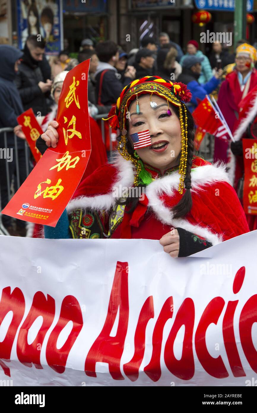 The Chinese New Year Parade welcomed in the Year of the Rat in 2020 down East Broadway and up Eldridge Street in Chinatown in New York City. Stock Photo
