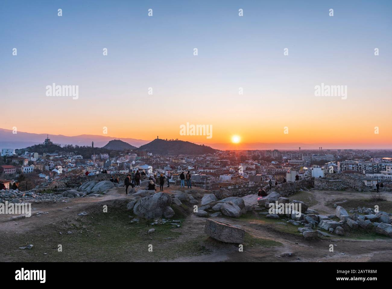 People watching sunset from Nebet tepe Hill in Plovdiv city, Bulgaria - the oldest European city Stock Photo