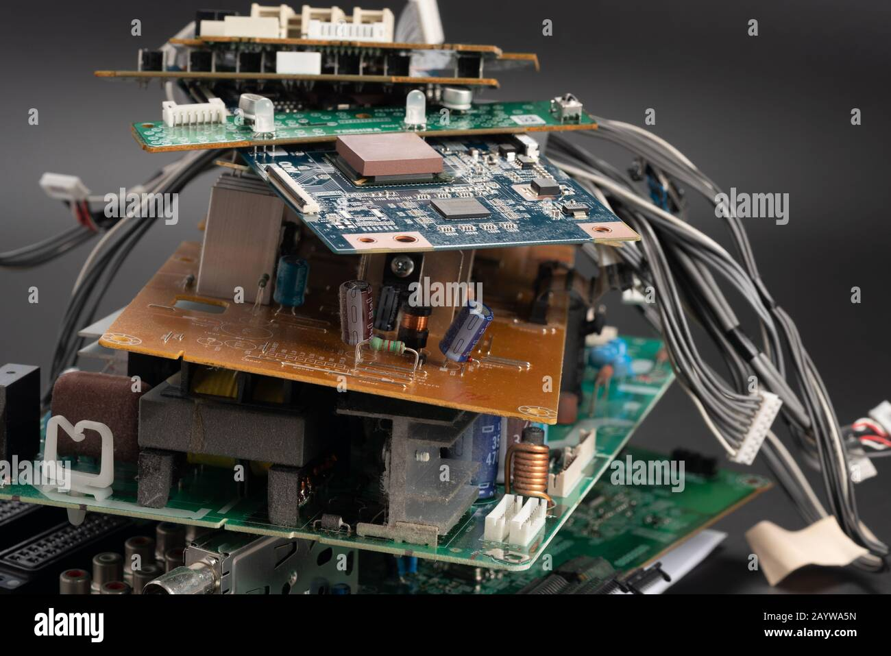 electronic PCB garbage as background from recycle industry and old consumer devices Stock Photo