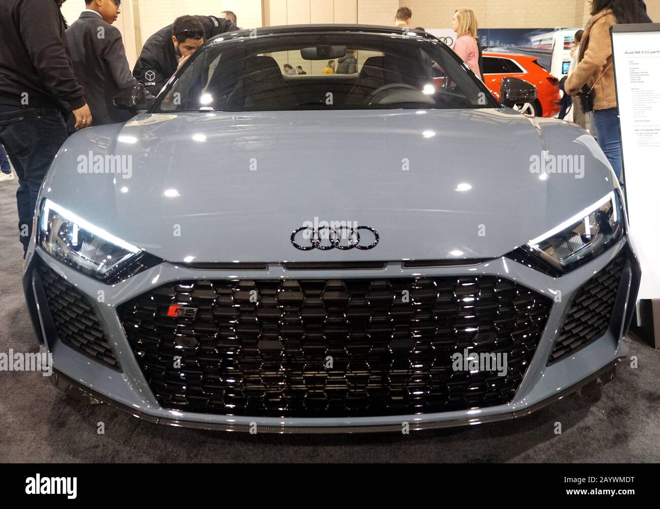 Philadelphia Pennsylvania U S A February 9 2020 The Front View Of The Pearl White Color Of 2020 Audi R8 V10 Performance Spyder Quattro Sports C Stock Photo Alamy