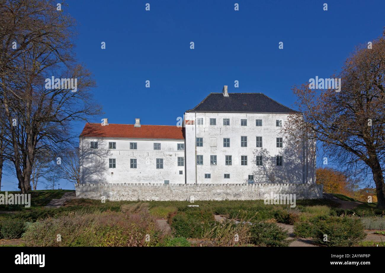 The apparently haunted 12th century medieval Dragsholm Castle in Hørve in north-western part of Zealand, Denmark. Now a famous restaurant and hotel. Stock Photo