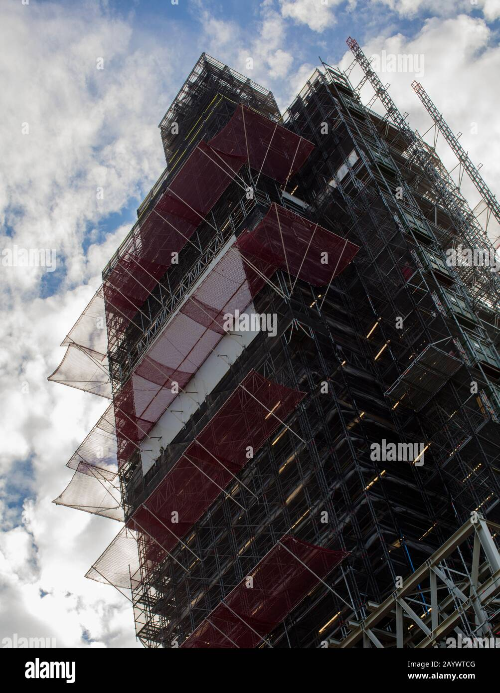 Elizabeth Tower, formerly the Clock Tower, often called Big Ben,in the Palace of Westminster, London, under scaffolding for refurbishment Stock Photo