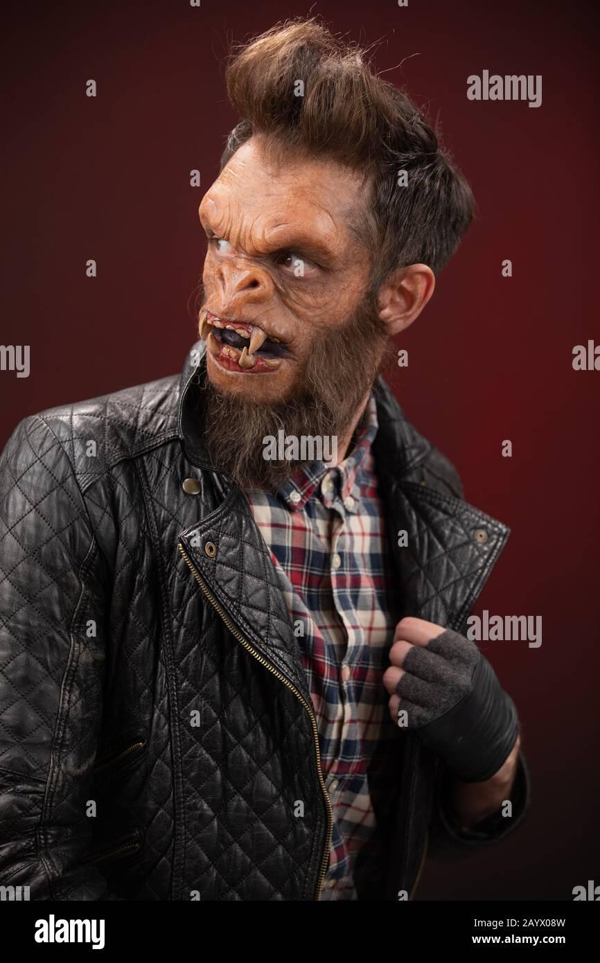 Portrait of Monkey man. Monkey man cinematic make-up for horror movie Stock Photo