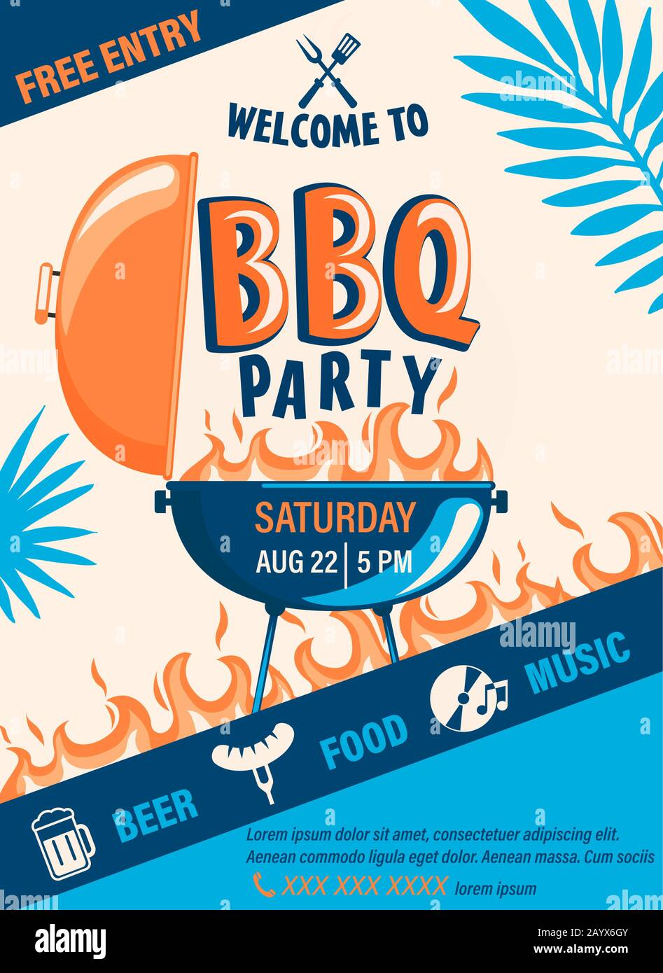 Welcome BBQ party flyer. Stock Vector