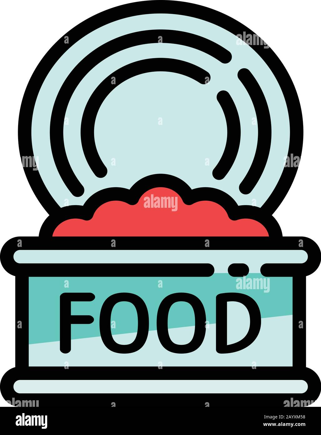 Open food tin can icon. Outline open food tin can vector icon for web design isolated on white background Stock Vector