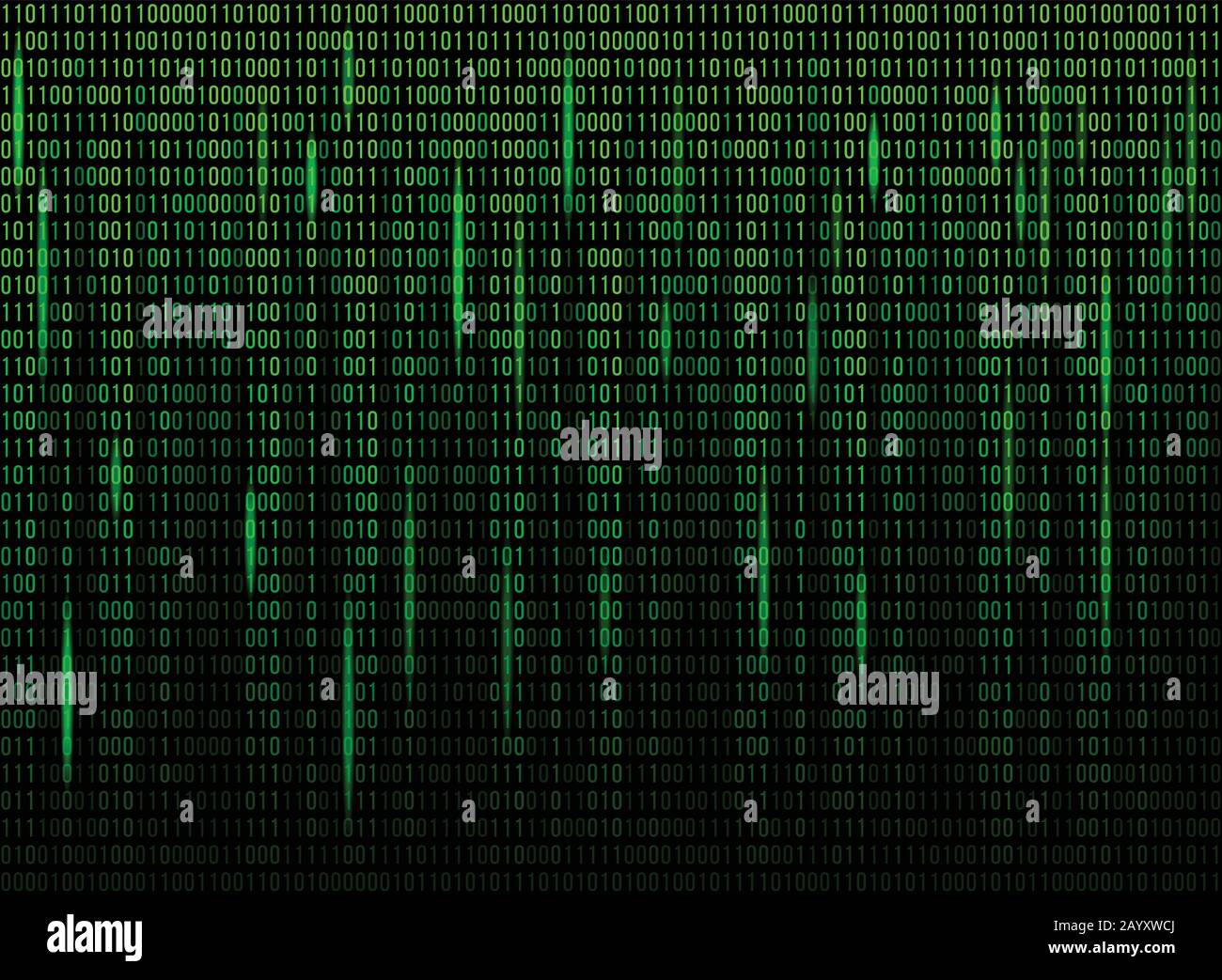 Computer screen binary data code. Numerical continuous code in green color, abstract web data in binary code. Vector illustration Stock Vector