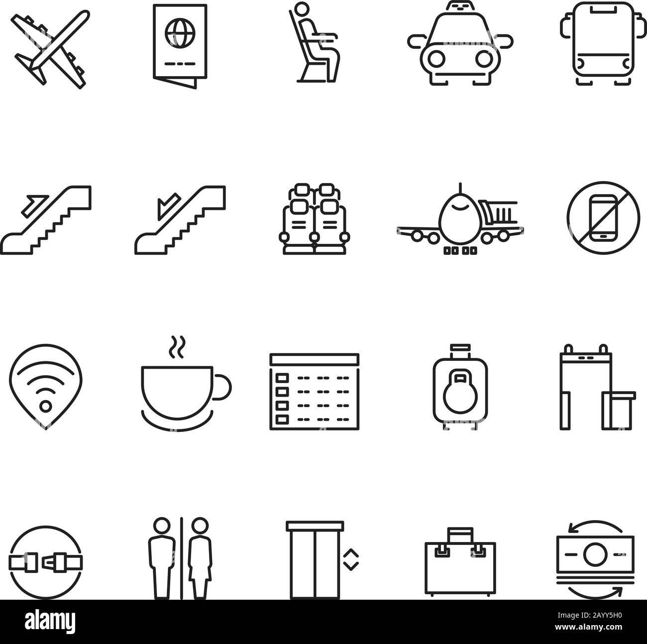 Airport thin line vector icons. Signs for airport wifi and coffee. Service airport for passenger illustration Stock Vector