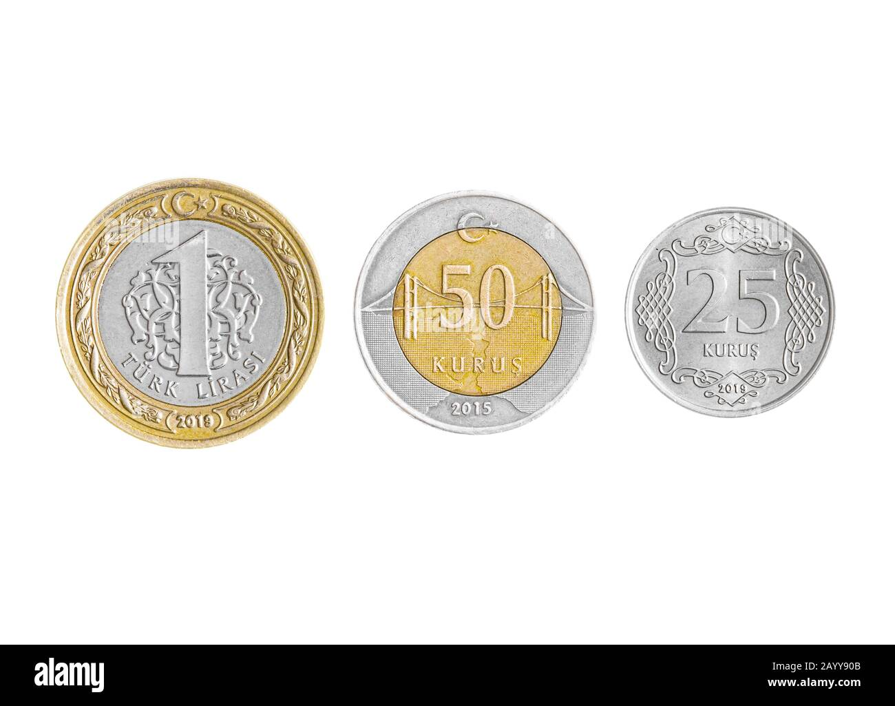 Turkish Lira coins collection set isolated on white background. Stock Photo