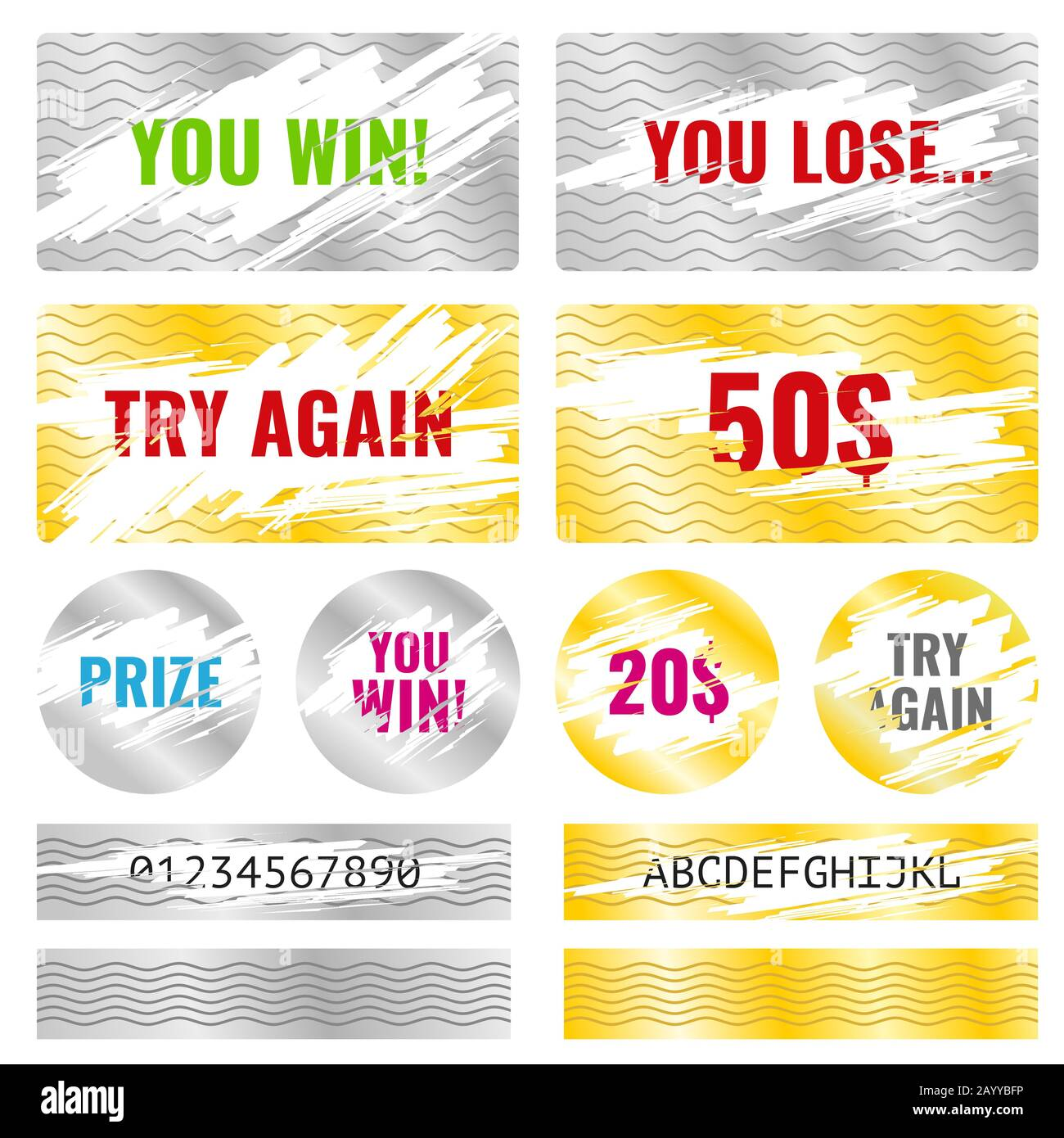Scratch card game, scratch and win lottery vector elements In Chance Card Template