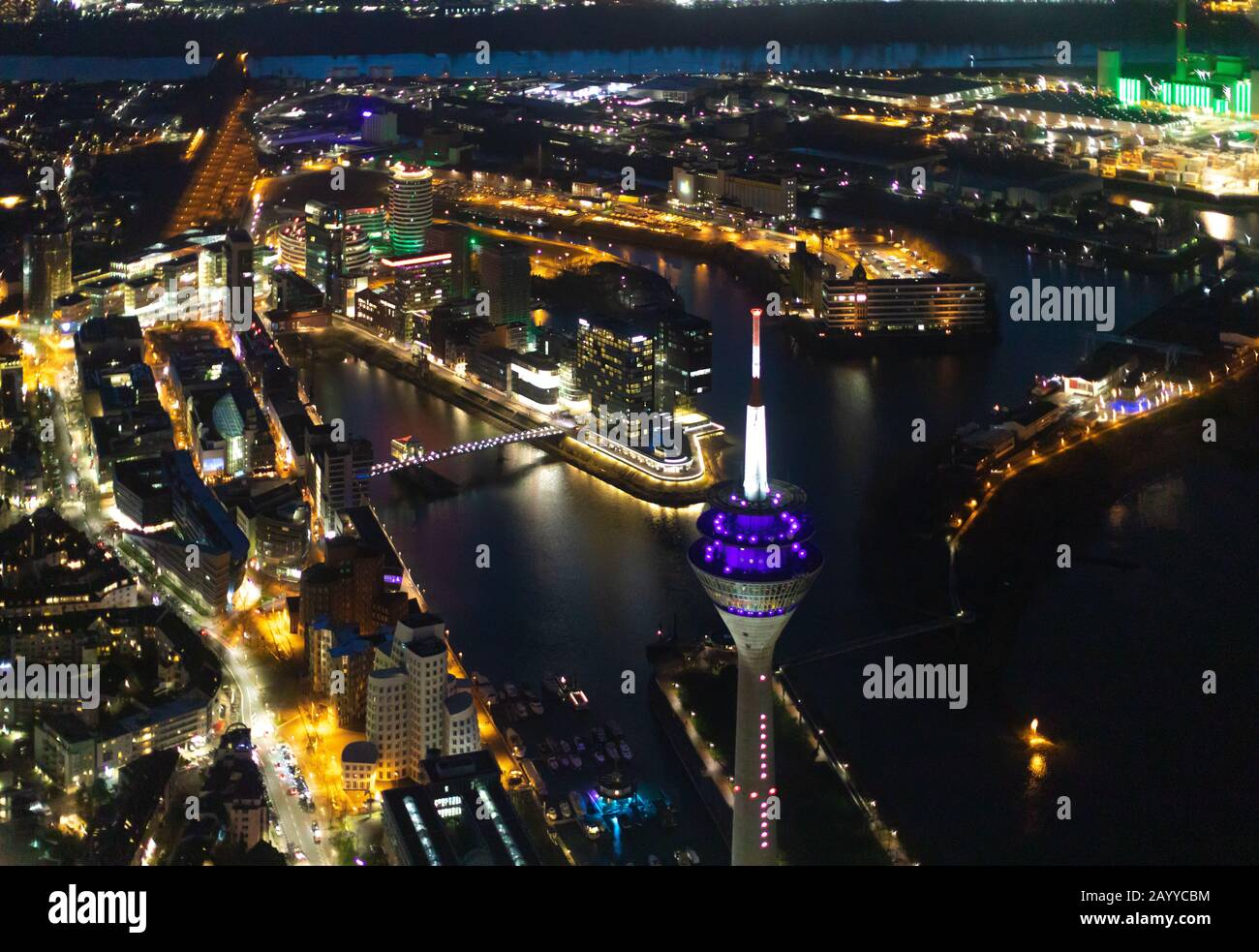 Aerial photo, television tower, state parliament, trivago N.V., travel agency head office, Ying-Yang, media harbour Düsseldorf am Rhein, city district Stock Photo