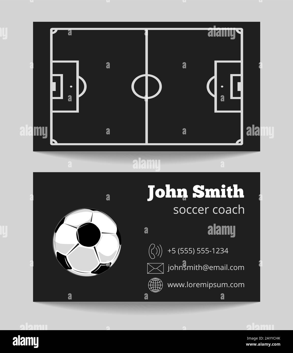 Soccer black business card. Template of card with ball. Vector With Soccer Referee Game Card Template
