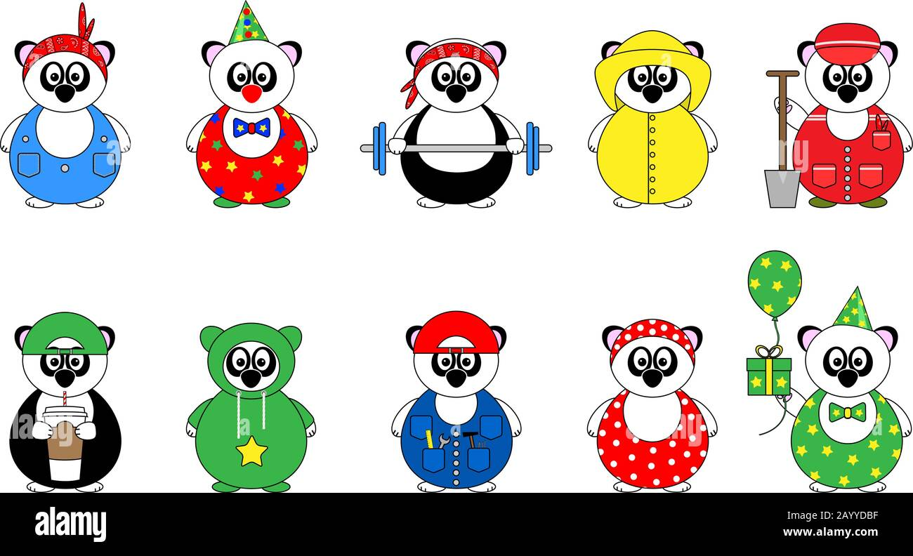 set of ten cute cartoon vector illustrations of panda bear with bandana, coffee, birthday present, tools and funny clothes, in bright colors Stock Vector
