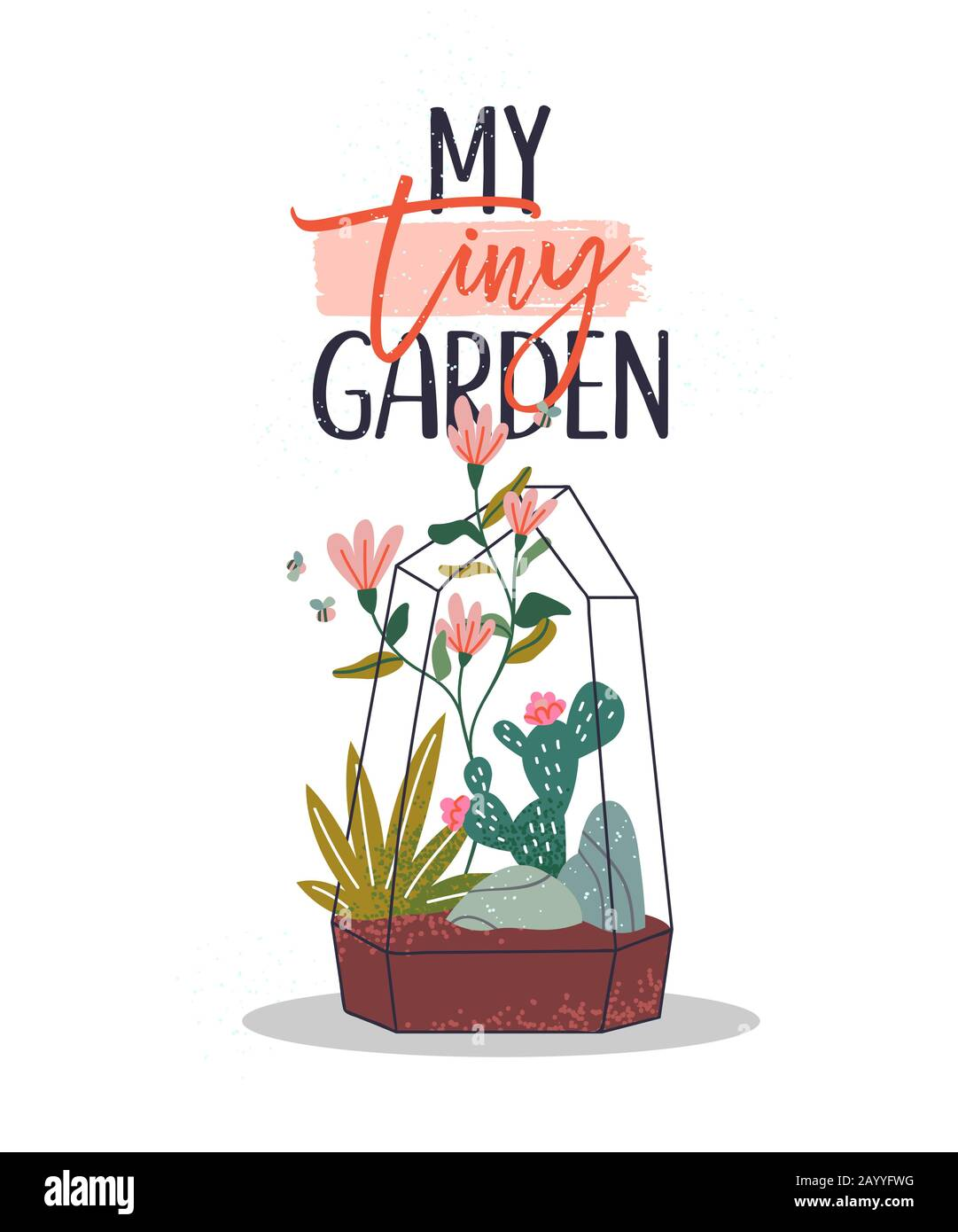 My Tiny Garden Quote With Hand Drawn Terrarium Plant Spring Flowers And Cactus Illustration With Cute Bee For Typography Concept Stock Vector Image Art Alamy