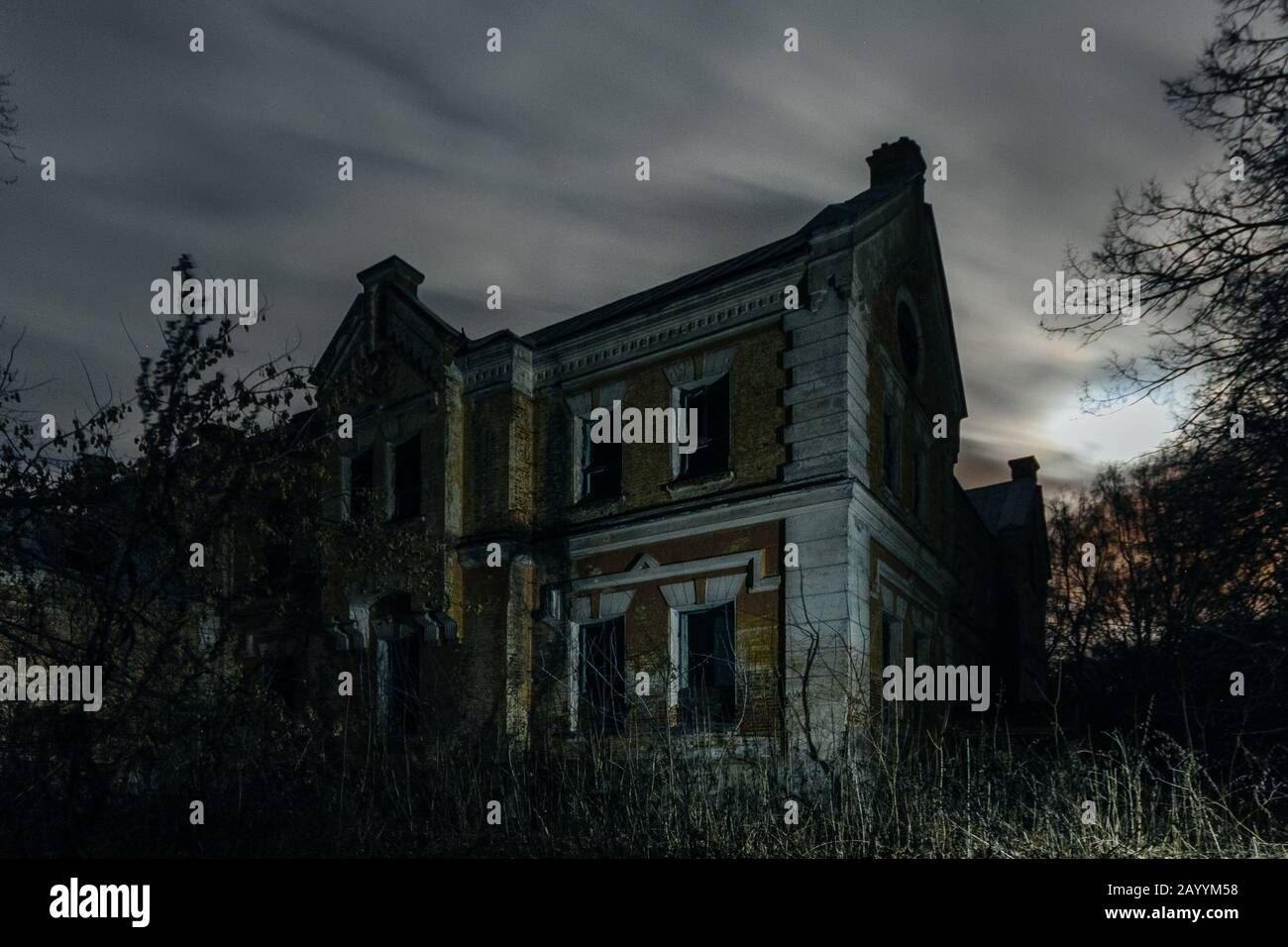 Dark And Creepy Old Abandoned Haunted Mansion At Night Former Karl Von Meck House Stock Photo Alamy