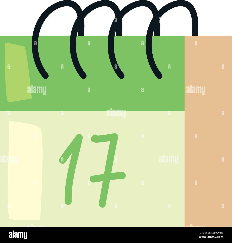 Calendar fill style icon design, Saint patricks day ireland celebration fortune irish natural and lucky theme Vector illustration Stock Vector