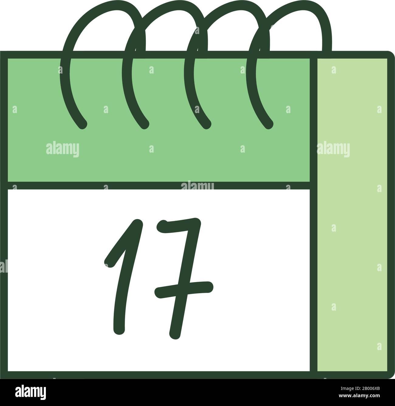 Calendar line style icon design, Saint patricks day ireland celebration fortune irish natural and lucky theme Vector illustration Stock Vector