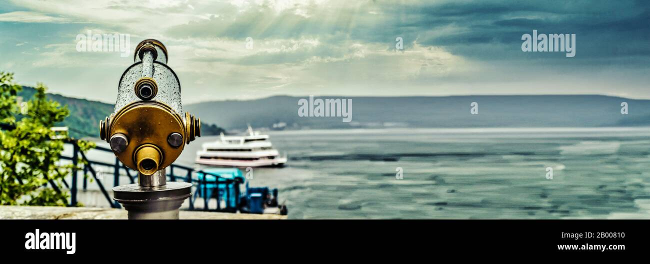 Panorama from Telescope on touristic destination on Edersee Hessen Germany Stock Photo