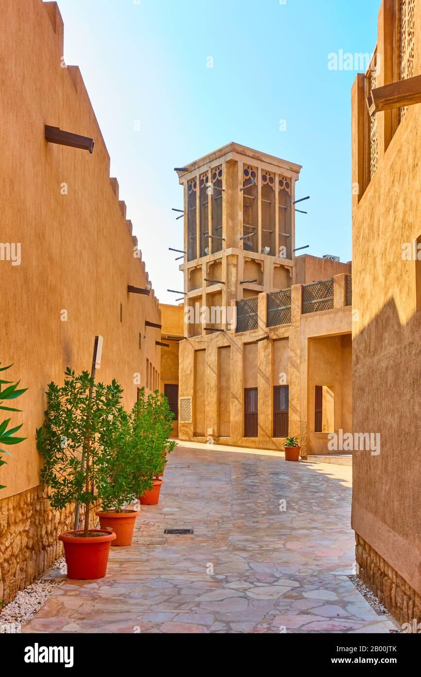 Traditional arabian street in Al Fahidi Historical Neighbourhood in Old Dubai, United Arab Emirates (UAE) Stock Photo