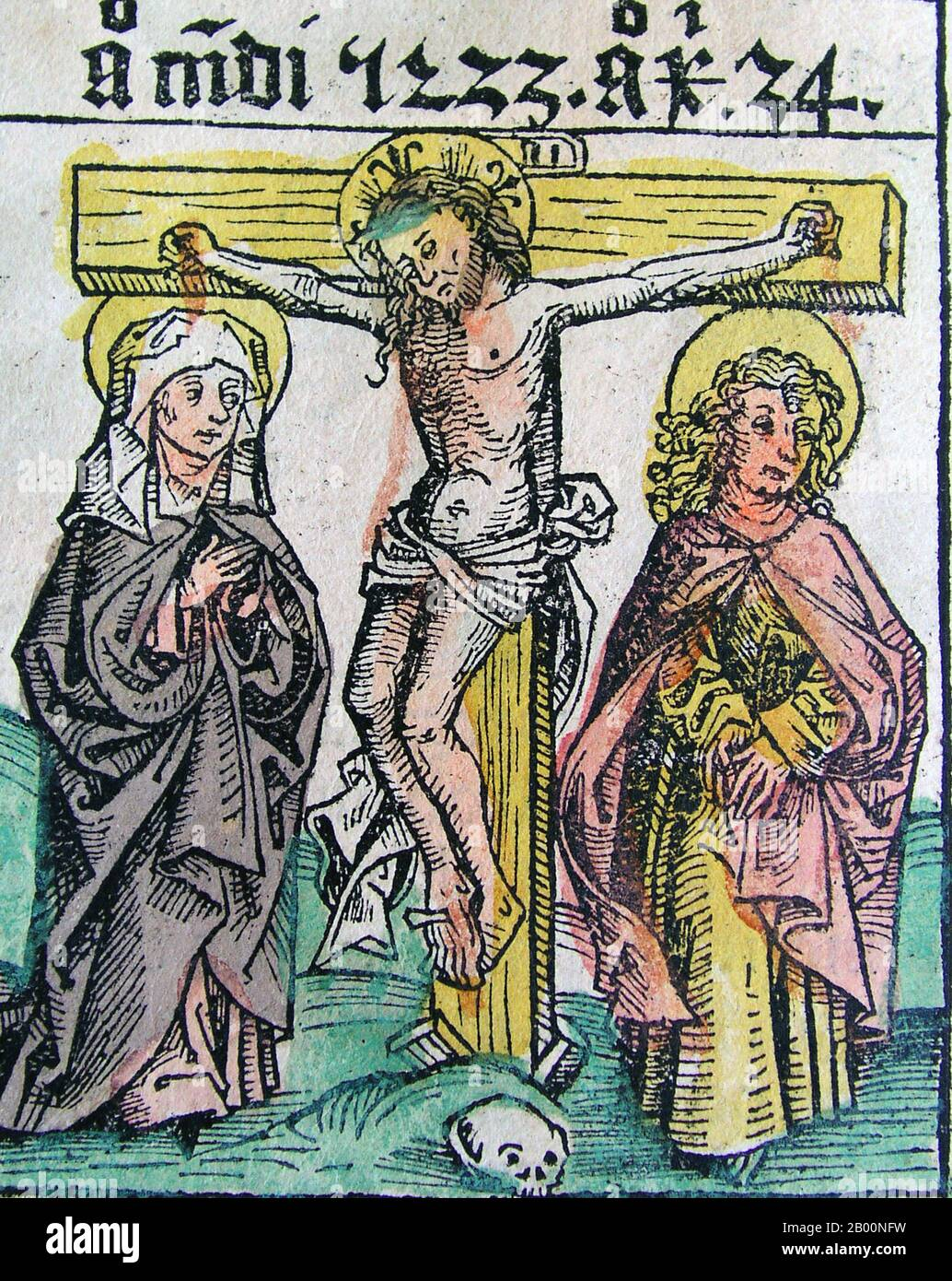 Germany: 'Crucifixion of Jesus'. The Nuremberg Chronicle, by Hartmann Schedel (1440-1514), 1493.  The Nuremberg Chronicle is an illustrated world history. Its structure follows the story of human history as related in the Bible, including the histories of a number of important Western cities. Written in Latin by Hartmann Schedel, with a version in German translation by Georg Alt, it appeared in 1493. It is one of the best-documented early printed books. It is classified as an incunabulum, a book, pamphlet, or broadside that was printed (not handwritten) before the year 1501 in Europe. Stock Photo