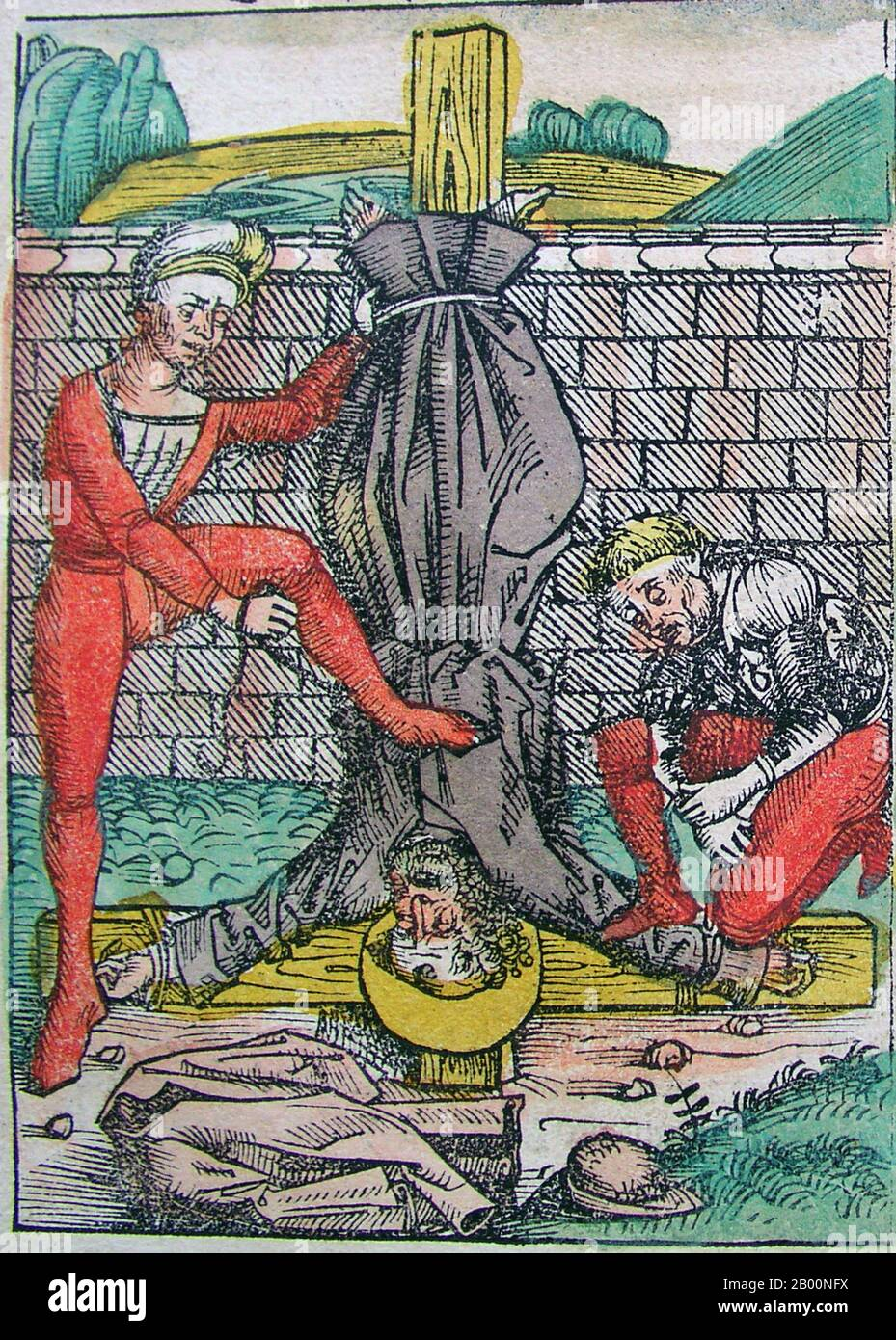 Germany: 'Crucifixion of Peter the Apostle'. The Nuremberg Chronicle, by Hartmann Schedel (1440-1514), 1493.  The Nuremberg Chronicle is an illustrated world history. Its structure follows the story of human history as related in the Bible, including the histories of a number of important Western cities. Written in Latin by Hartmann Schedel, with a version in German translation by Georg Alt, it appeared in 1493. It is one of the best-documented early printed books. It is classified as an incunabulum, a book, pamphlet, or broadside that was printed (not handwritten) before the year 1501 in Euro Stock Photo