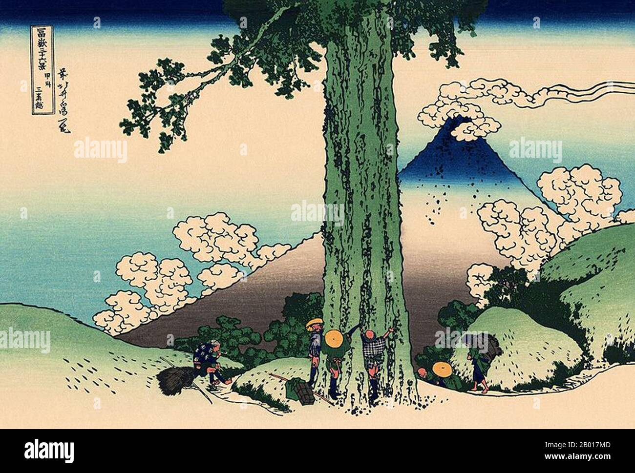 'Thirty-six Views of Mount Fuji' is an 'ukiyo-e' series of large, color woodblock prints by the Japanese artist Katsushika Hokusai (1760–1849). The series depicts Mount Fuji in differing seasons and weather conditions from a variety of places and distances. It actually consists of 46 prints created between 1826 and 1833. The first 36 were included in the original publication and, due to their popularity, 10 more were added after the original publication.  Mount Fuji is the highest mountain in Japan at 3,776 m (12,389 ft). An active stratovolcano that last erupted in 1707–08, Mount Fuji lies ab Stock Photo