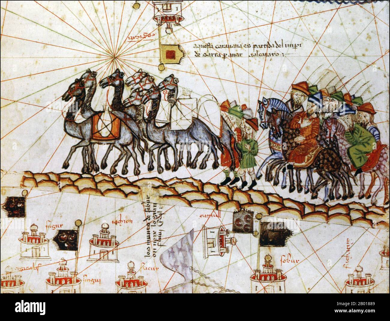 The Catalan Atlas (1375) is the most important Catalan map of the medieval period. It was produced by the Majorcan cartographic school and is attributed to Cresques Abraham, a Jewish book illuminator who was self-described as being a master of the maps of the world as well as compasses. It has been in the royal library of France (now the Bibliothèque nationale de France) since the late 14th century. Stock Photo
