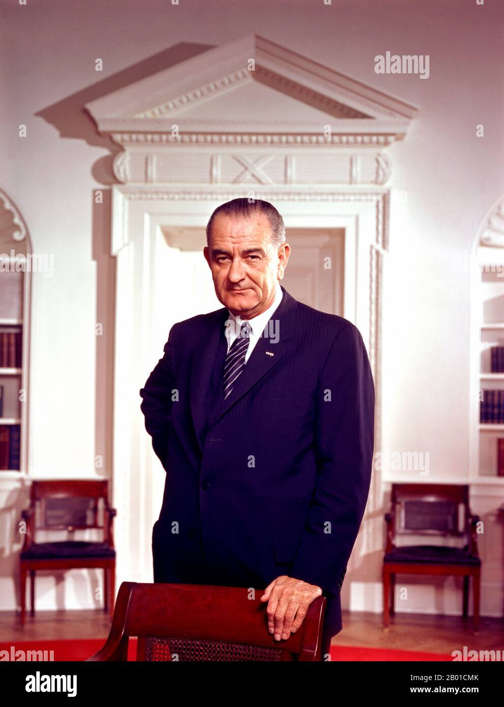 Lyndon Baines Johnson (August 27, 1908 – January 22, 1973), often referred to as LBJ, was the 36th President of the United States (1963–1969) after his service as the 37th Vice President of the United States (1961–1963). He is one of only four people who served in all four elected federal offices of the United States: Representative, Senator, Vice President and President.  Johnson, a Democrat, served as a United States Representative from Texas, from 1937–1949 and as United States Senator from 1949–1961, including six years as United States Senate Majority Leader, two as Senate Minority Leader Stock Photo