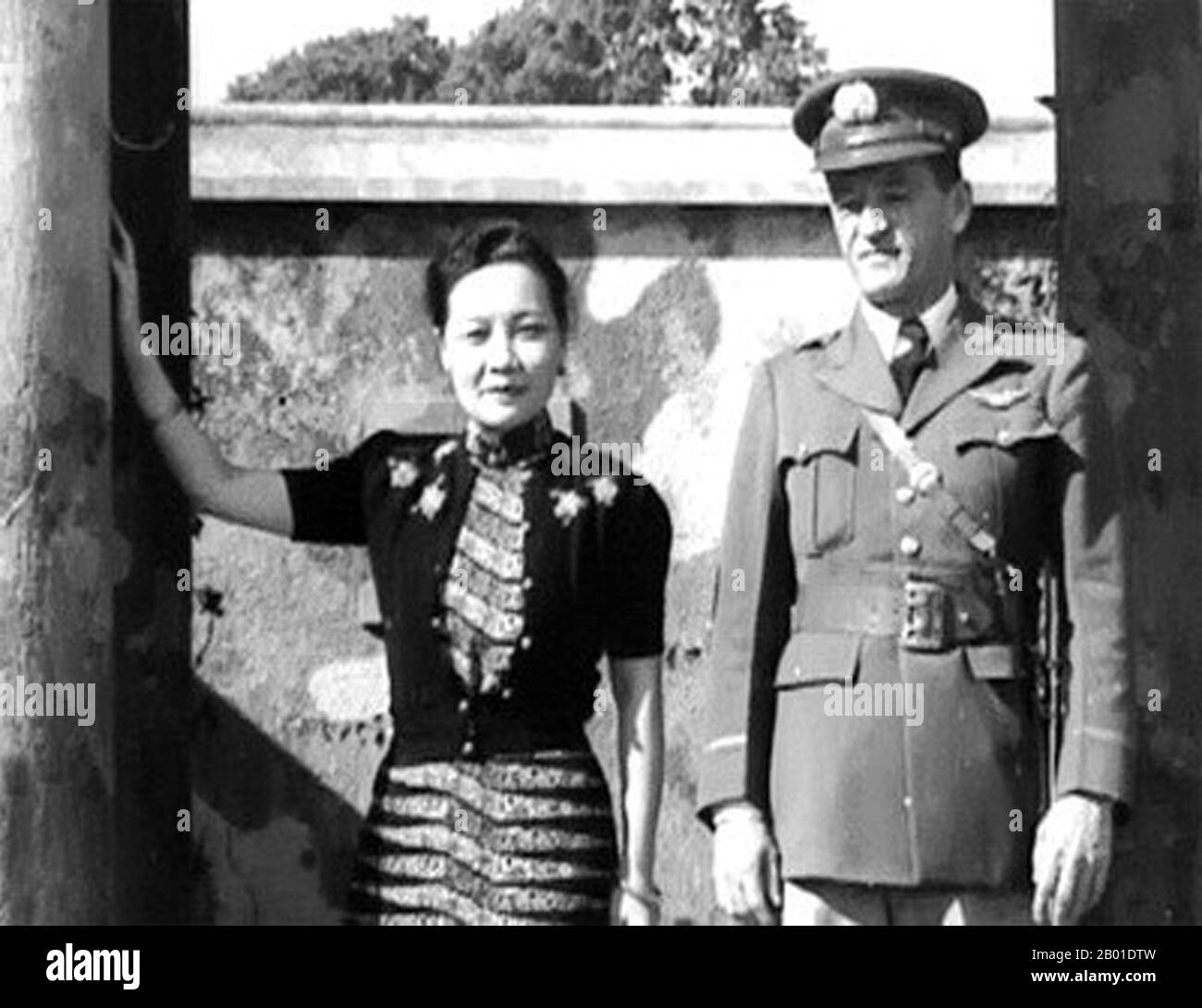 Soong May-ling or Soong Mei-ling, also known as Madame Chiang Kai-shek (traditional Chinese: 宋美齡; simplified Chinese: 宋美龄; pinyin: Sòng Měilíng; March 5, 1898 – October 23, 2003) was a First Lady of the Republic of China (ROC), the wife of former President Chiang Kai-shek (蔣中正 / 蔣介石).  Lieutenant General Claire Lee Chennault (September 6, 1893 – July 27, 1958), was an American military aviator. A contentious officer, he was a fierce advocate of fight-interceptor aircraft during the 1930s when the U.S. Army Air Corps was focused primarily on high-altitude bombardment. Chennault retired in 1937, Stock Photo