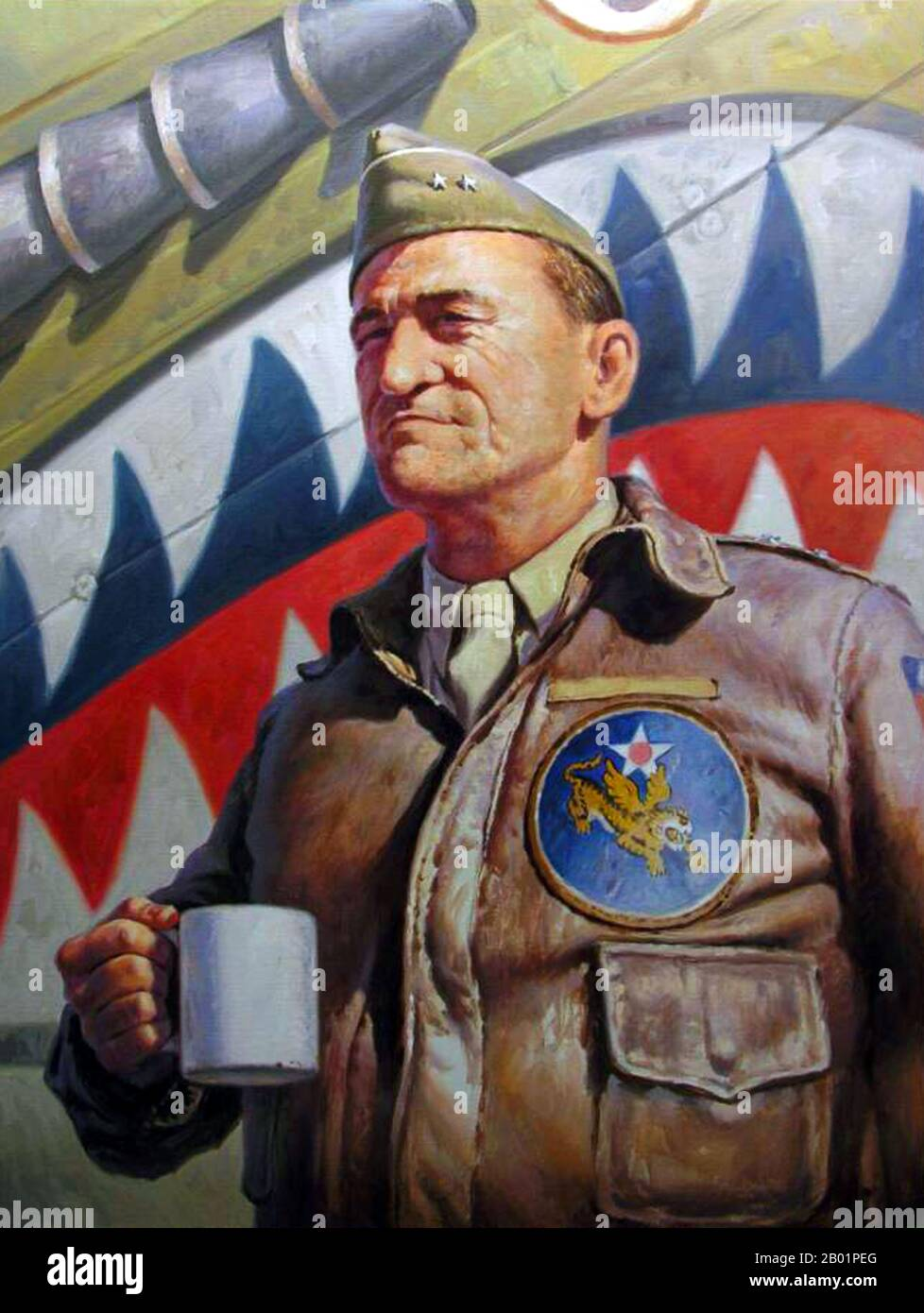 Lieutenant General Claire Lee Chennault (September 6, 1893 – July 27, 1958), was an American military aviator. A contentious officer, he was a fierce advocate of fight-interceptor aircraft during the 1930s when the U.S. Army Air Corps was focused primarily on high-altitude bombardment. Chennault retired in 1937, went to work as an aviation trainer and adviser in China, and commanded the 'Flying Tigers' during World War II, both the volunteer group and the uniformed units that replaced it in 1942. Stock Photo