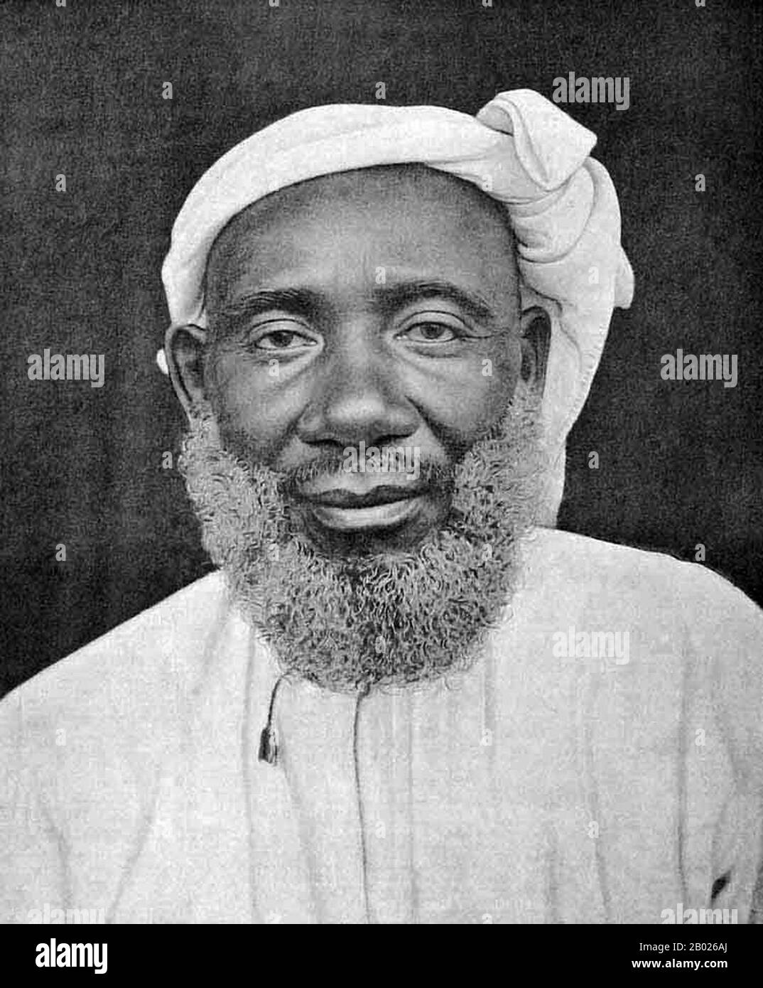 Tippu Tip or Tib (1837 – June 14, 1905), real name Hamad bin Muḥammad bin Jumah bin Rajab bin Muḥammad bin Sa'īd al-Murghabī, (Arabic: حمد بن محمد بن جمعة بن رجب بن محمد بن سعيد المرجبي), was a Swahili-Zanzibari trader. He was famously known by the natives of East Africa as Tippu Tib after the sounds that his many guns made. A notorious slave trader, plantation owner and governor, who worked for a succession of sultans of Zanzibar, he led many trading expeditions into Central Africa, involving the slave trade and ivory trade. He constructed profitable trading posts that reached deep into Cent Stock Photo